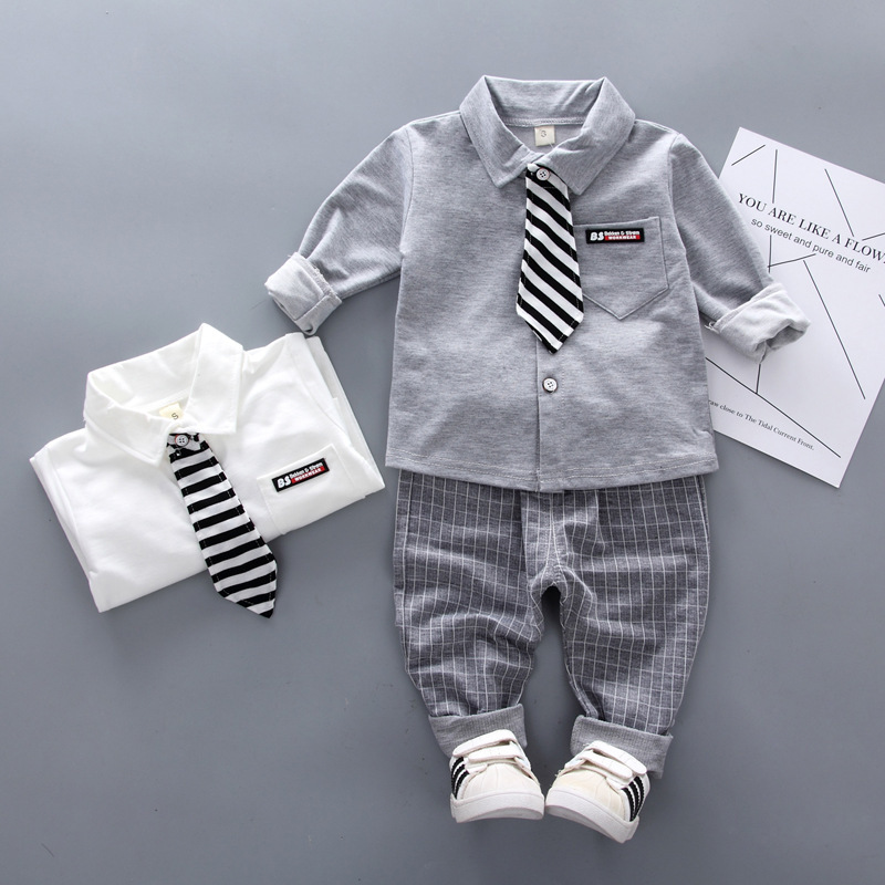 2019 New Spring Baby Boys Clothing Formal Infant Gentleman Tie Shirt Pants 2Pcs/Sets Kids Clothess Cotton Children Leisure Suits