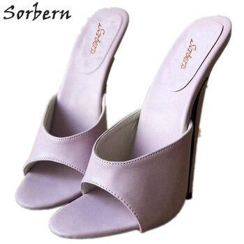 Sorbern Light Purple Women Slides High Heel Summer Style Shoes Ladies Slip On Shoes Slides Females Mules Shoes Ladies Slippers