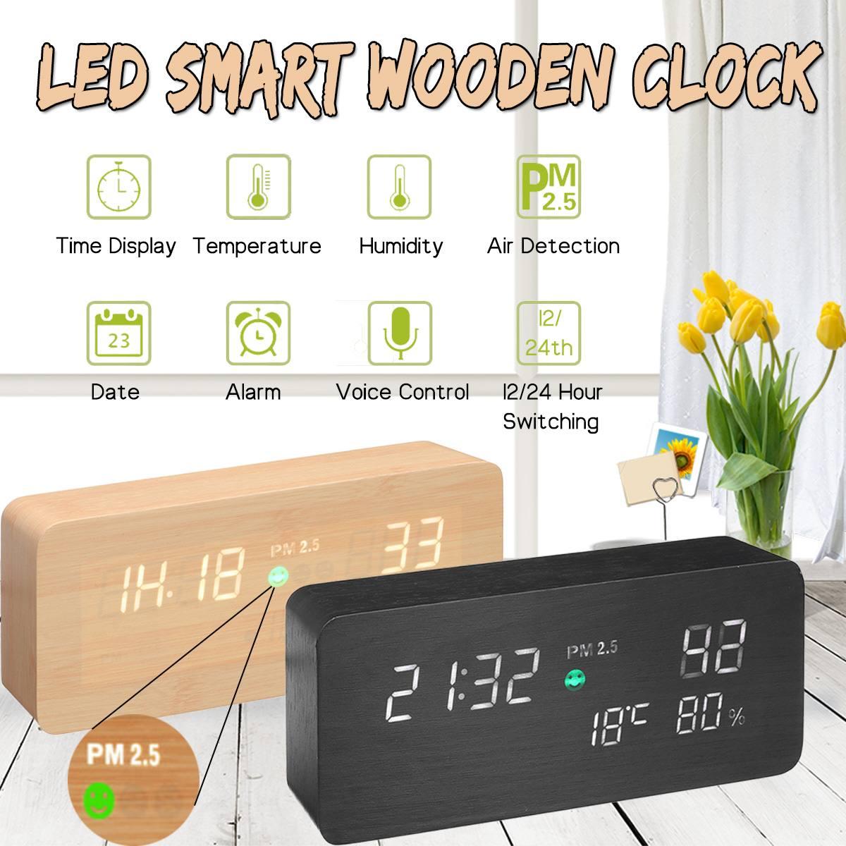 En bois led PM 2.5 Air Détecteur Sound Control alarme numérique Horloge Calendrier Température Humidité Air testeur de qualité Analyseur De Gaz