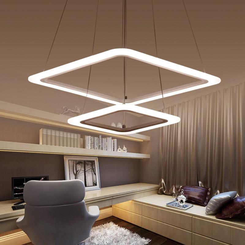 Omicron Modern Creative White Metal Square Rings Led Pendant Lights For Dinning Room Living Room Decor Hanging Pendant Lamp in Pendant Lights from Lights Lighting