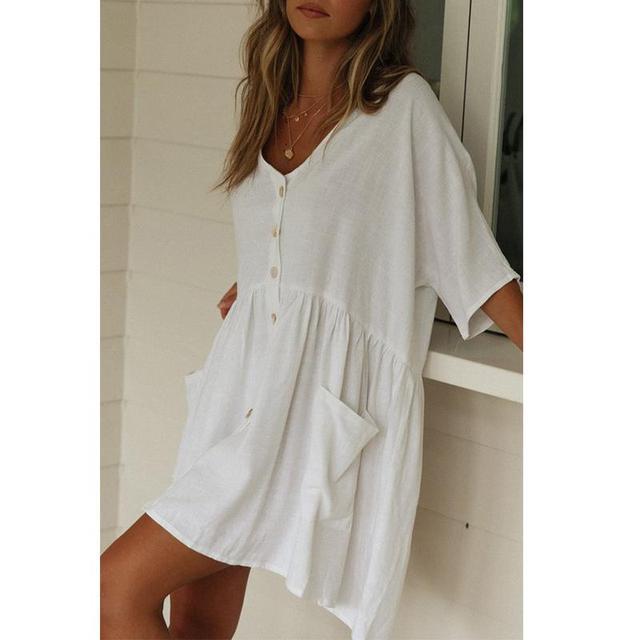 93d90dcd21 Düşük maliyetli Peachtan için Yaz 2019 yeni Seksi beyaz elbise kapak ...