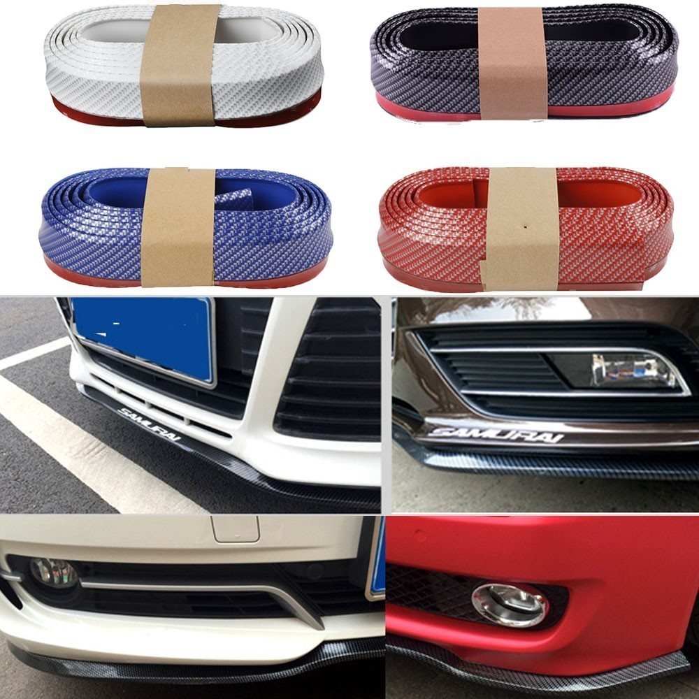 Image 3 - Car Universal Front Bumper Lip  Carbon Fiber Rubber Splitter Chin Spoiler side Skirt Rubber Anti Scratch Protector Body Kit Trim-in Styling Mouldings from Automobiles & Motorcycles