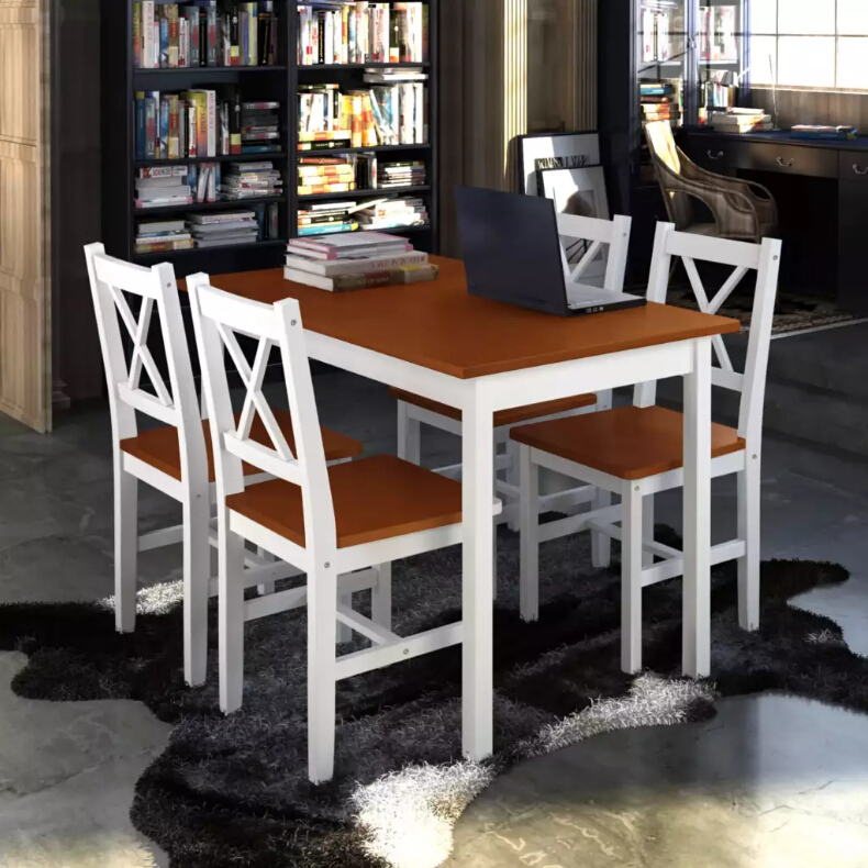 vidaXL Modern style Dining Set 5 Pieces Solid Wood Brown small family dining table and chairs combination