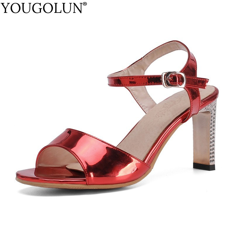 Bright Leather High Heel Sandals Women Summer Lady Ankle Strap High Heels A196 Sexy Woman Buckle Red Silver Gold Peep Toe ShoesBright Leather High Heel Sandals Women Summer Lady Ankle Strap High Heels A196 Sexy Woman Buckle Red Silver Gold Peep Toe Shoes