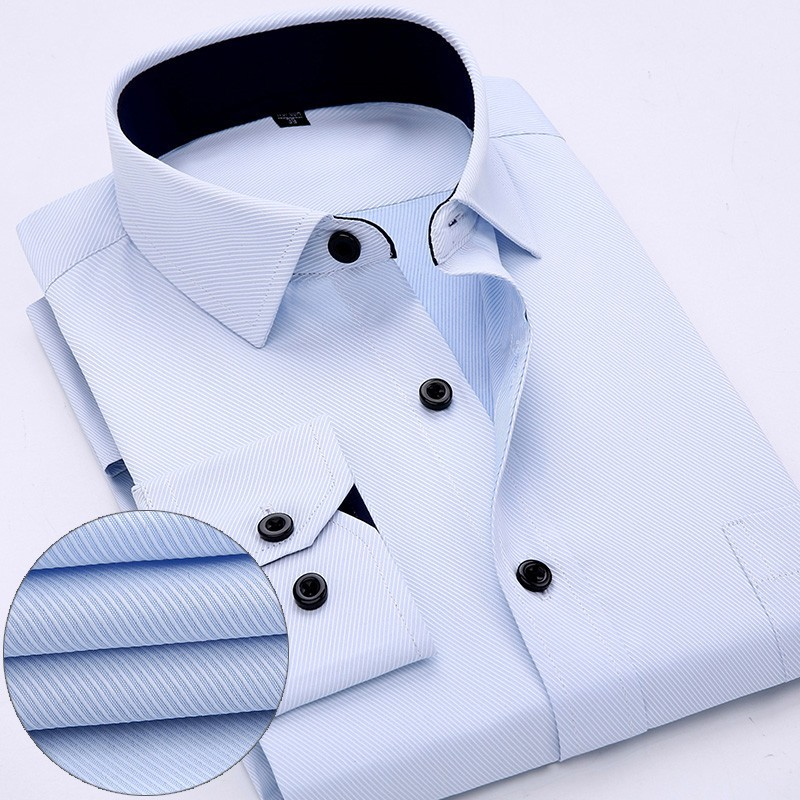 2019 Spring New Slim Dress Shirt For Men Brand Long Sleeve Solid Mens Work Shirts Fashion Square Collar Casual Formal Male Tops