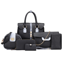 6PCS Women Bag Set Fashion Brand PU Female Totes Crossbody Chain Messenger Office Lady Career Bags 4Colors