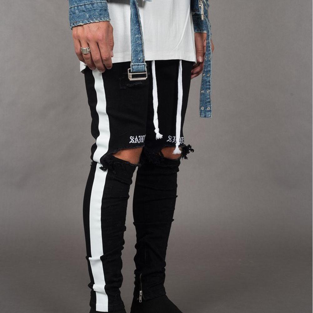 Trendy Men's Ripped   Jeans   Knee Holes Skinny Slim Fit Denim Pants Destroyed Frayed Trousers Fashion Design Side Stripe Black   Jean