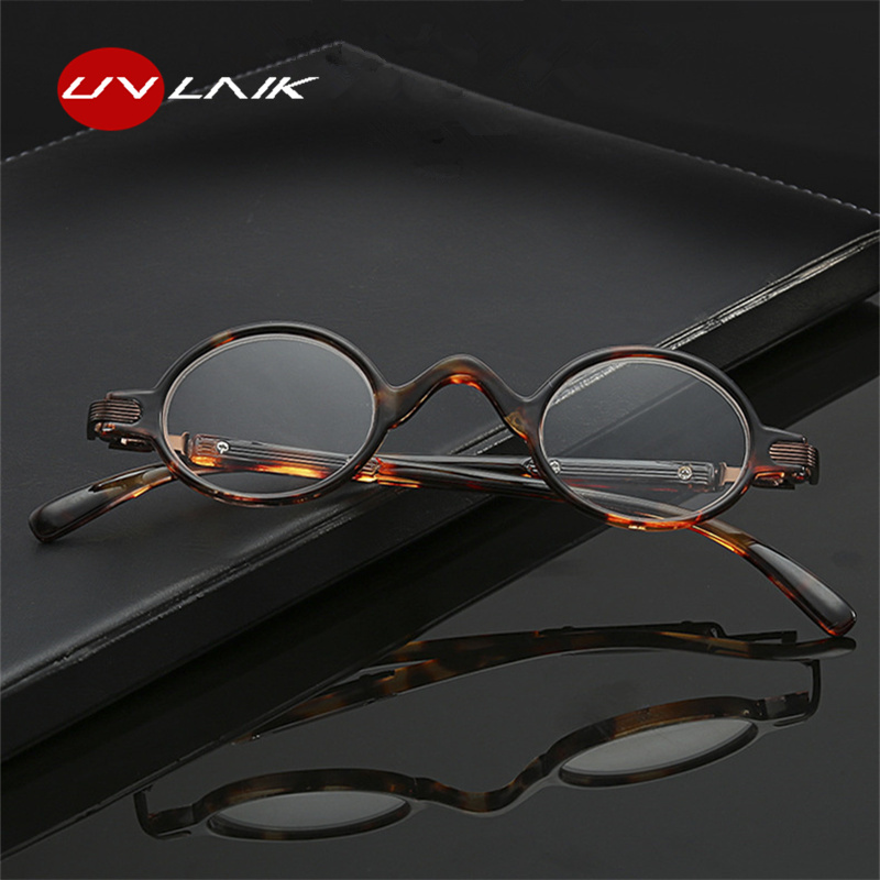 UVLAIK Retro Small Reading Glasses Men Women Fashion Small Round Frame Reading Eyeglasses High Quality Prescription Glasses