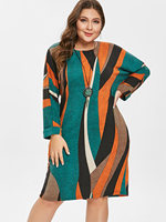 Wipalo Plus Size Striped Knitted Dress With Pocket Women Clothing Fall Spring Casual Round Collar Long Sleeves Dresses Vestidos