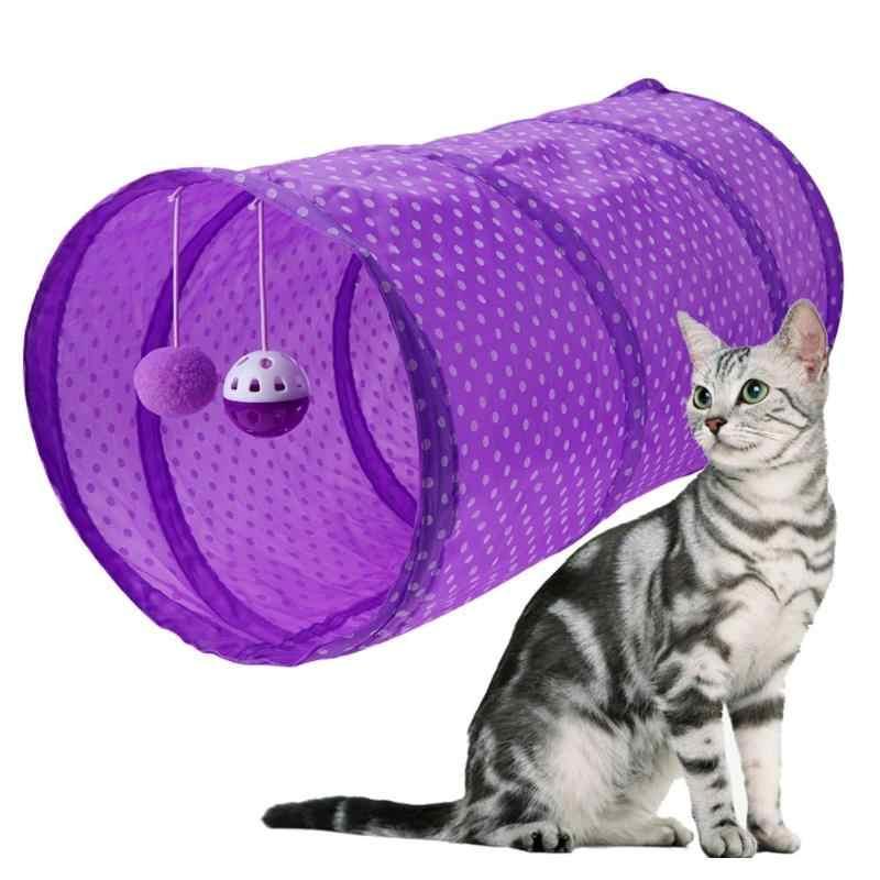 재미 있은 애완 동물 고양이 터널 폴리 에스터 섬유 고양이 놀이 터널 튜브 접을 수있는 crinkle 1 구멍 새끼 고양이 고양이 장난감 토끼 놀이 터널