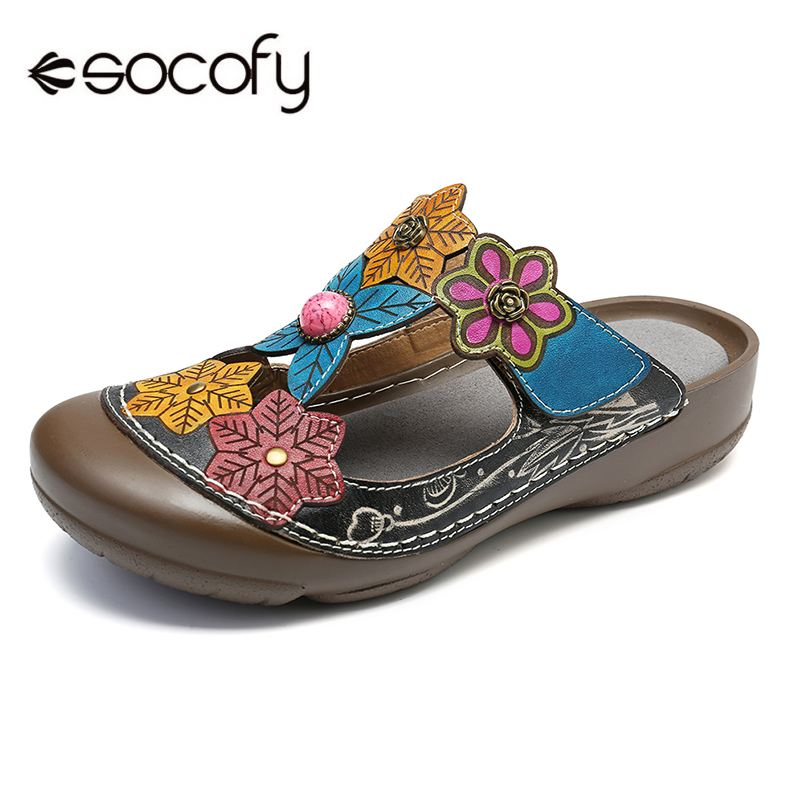 SOCOFY Hollow Genuine Leather Vintage Flowers Splicing Stitching Hook Loop Soft Sandals Spring Summer Casual Women Flat Shoes