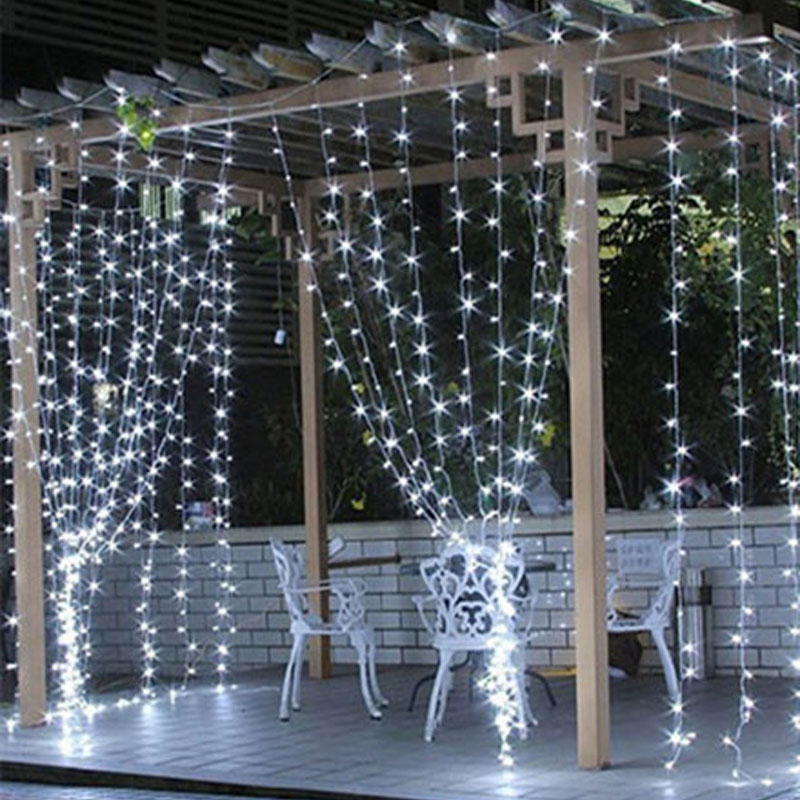 3x3/6x3/8x3/10x3m LED Christmas Curtain Lights Garlands STRING Fairy Holiday Icicle Party Garden Wedding Decorations