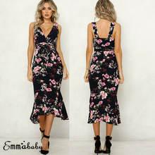 Женское длинное платье макси с цветочным принтом элегантный
