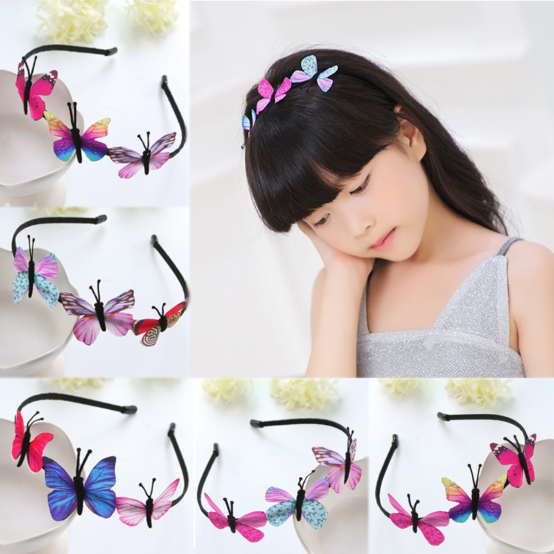 Women 1PC Butterfly Kids Handmade Children High Quality Fairy Princess Hairbands Party Hair Accessories Girls Colorful Unique