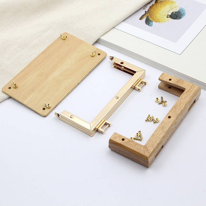 13.8cm Golden Square Solid Wood No Hole Screw DIY Luggage And Bags Hardware Parts Wooden Purse Frame Bag Handle Wood Purse Frame