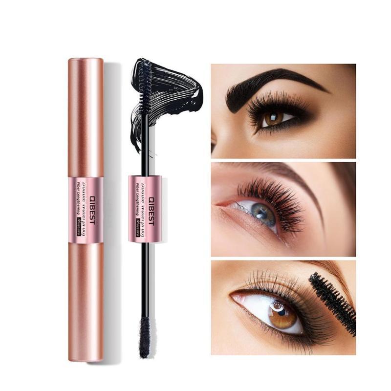 Double Side Long Curling Mascara Black Thick Lengthening Eyelash Fiber Natural Eye Lash Cosmetic Makeup