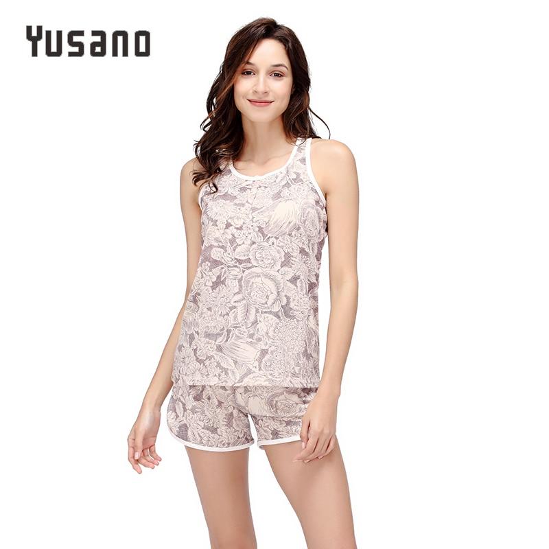 2019 Summer Women Pajama Sets Shorts Cotton Sleeveless Tank Top Short Pant Sleepwear Pijama Casual Home Clothes Plus Size S-XXL