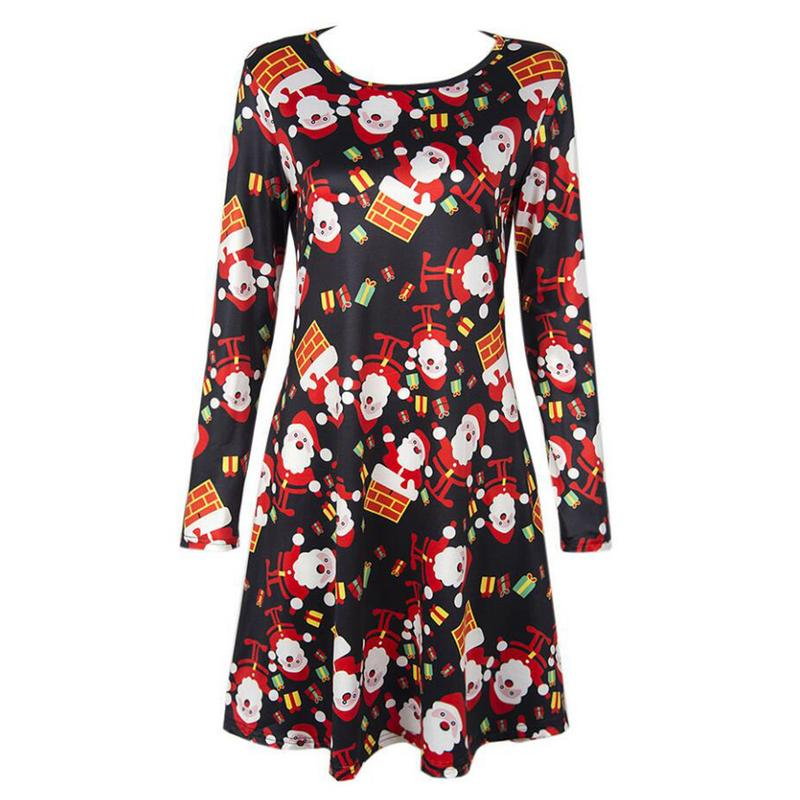New Print Dress For Women 2018 Autumn New Year Festival Christmas Dress Cartoon Casual Dresses Long Sleeve Dress