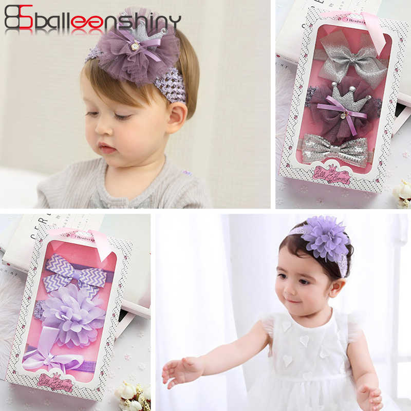 35cd37a3a9f65 BalleenShiny 3PCS Lace Bowknot Headband Baby Girls Headwear Set Hair  Decoration Cute Flower Glitter Crown Hairband