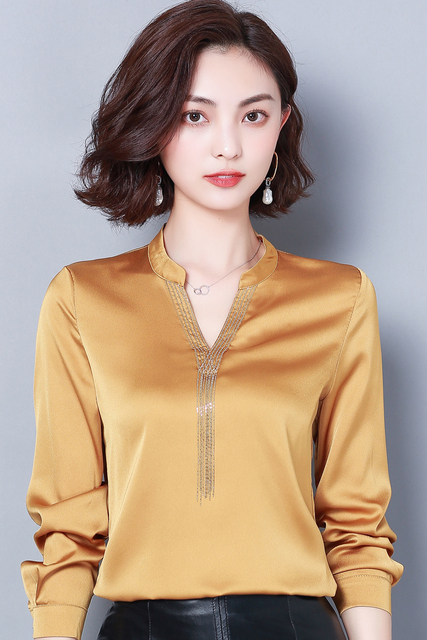 Now Autumn Spring Women Tops And Blouses Chiffon Blouse V-neck Long Sleeve Shirts Fashion Ladies Tops Plus Size 3XL Blusas