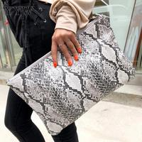 Fashion Snake Printed Women'S Clutch Bag Leather Women Envelope Bag Clutch Evening Bag Female Grey Handbag Immediately Shipping