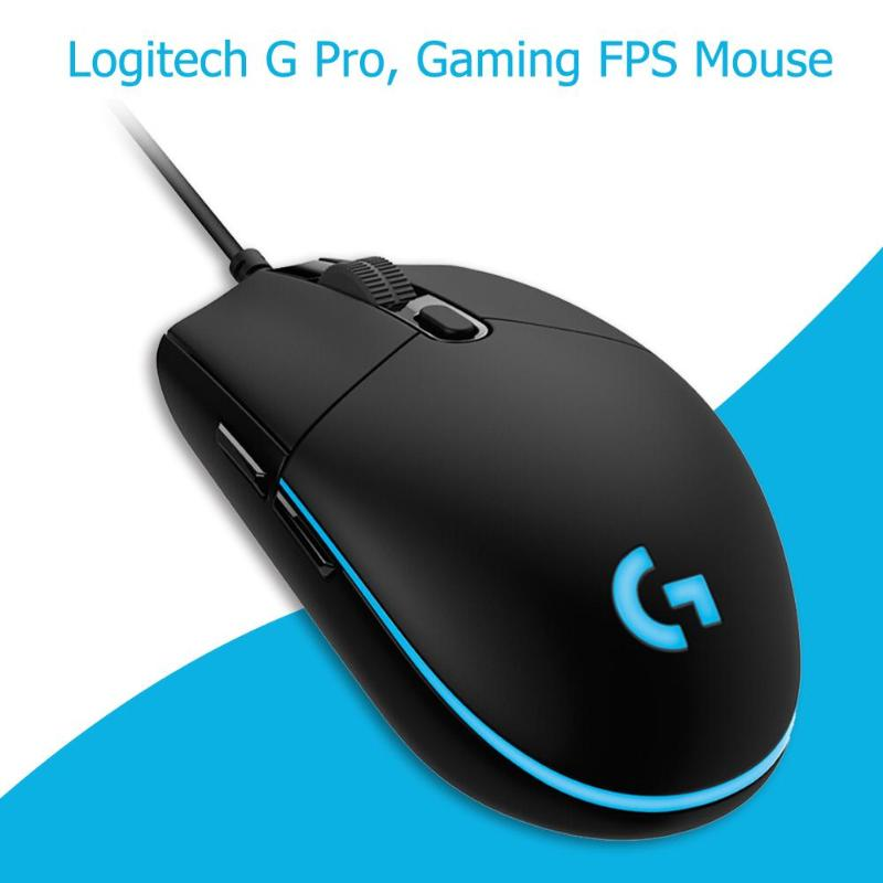 Logitech G Pro Gaming FPS <font><b>Mouse</b></font> <font><b>12000DPI</b></font> RGB Backlight 6 Programmable Macro Button Wired <font><b>Mouse</b></font> for Competitive Play image