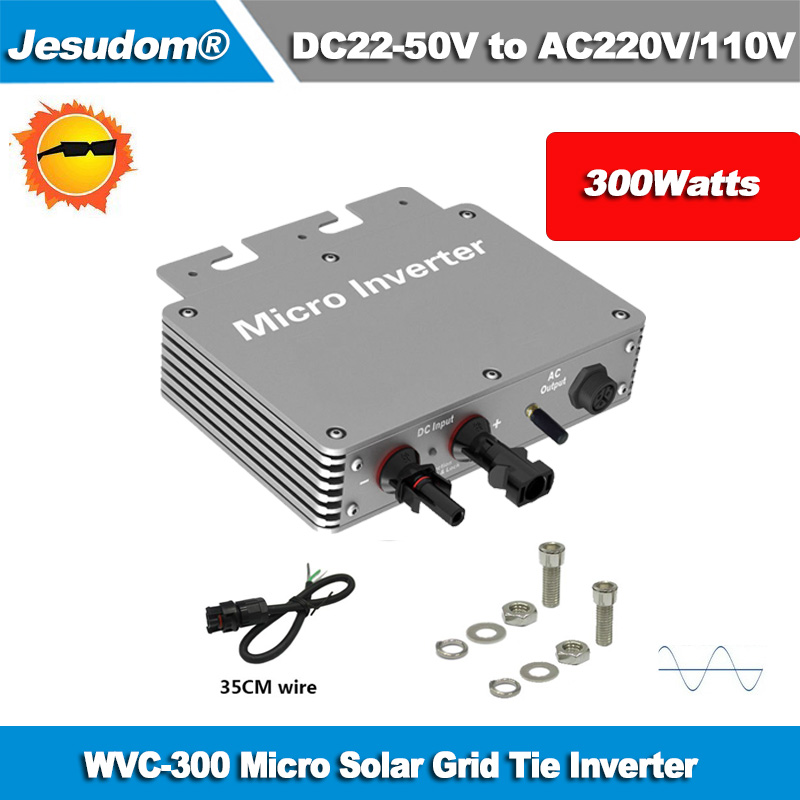 Hot Sales Waterproof IP65 Micro Grid Tied Inverter WVC 300W with Input DC22V 50V to AC230