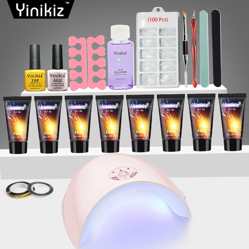 Reliable Yinikiz Jelly Poly Gel Set Building Nailstip Acrylic Fast Uv Extension Glue Soak Off Nail Art Kit 36w Nail Lamp Set Utmost In Convenience Beauty & Health