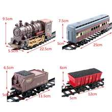 Electric Dynamic Steam Track Train Set 4Cars Simulation Passenger Carriage Kids Railway Track Toy Christmas Gift Educational Toy