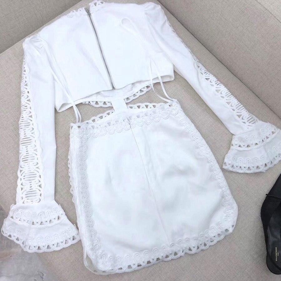 2019 Robes Mini Courte Femme Robe Partie Out Exposés Nouveauté Black Flare Holliw Club Sexy De Taille Manches Élégante Dentelle white yYf6b7gv