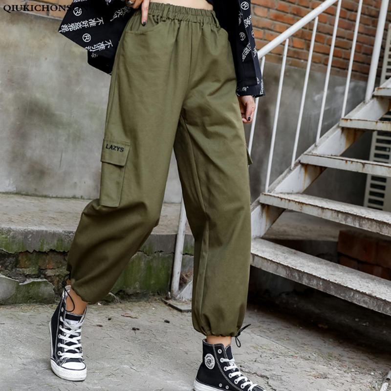 Qiukichonson High Waist Casual Bloomers Women 2019 Korean Fashion Harem Pants Lazy Wind Black Cargo Pants Loose Capris Trousers