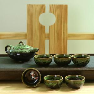 Image 1 - 中国カンフー茶は、セラミック釉薬ティーポット磁器 Teaset ポータブル茶カップ茶道の茶器のためのギフトセット友人
