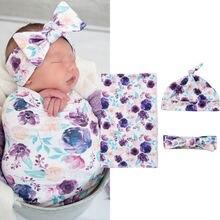 Хлопок пеленать муслин одеяло для малышей, с цветочным узором для завёртывания для пеленания одеяло 3 шт Размер 0-3 м