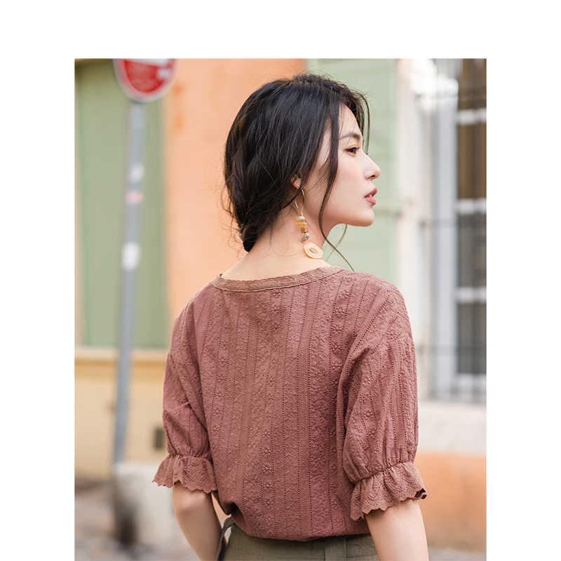 Инман Лето 2019 г. новое поступление v-образный вырез литературный ретро повседневный праздник стиль все совпадающие обтягивающая с короткими рукавами для женщин Blusas рубашка