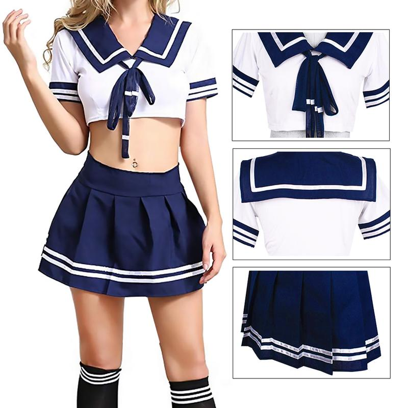 <font><b>Sexy</b></font> <font><b>Schoolgirl</b></font> Outfit Lingerie Uniform Temptation Sailor Suit Student Wear <font><b>Japanese</b></font> Style <font><b>Sexy</b></font> Nightclub Anchor Theme Role Play image