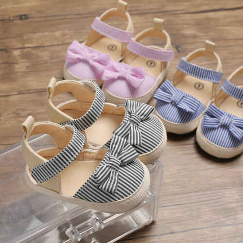 Zapatos de cuna blandos con lazo a rayas para recién nacidos, sandalias antideslizantes para bebés recién nacidos, zapatilla bonita para niños de 0 a 18M