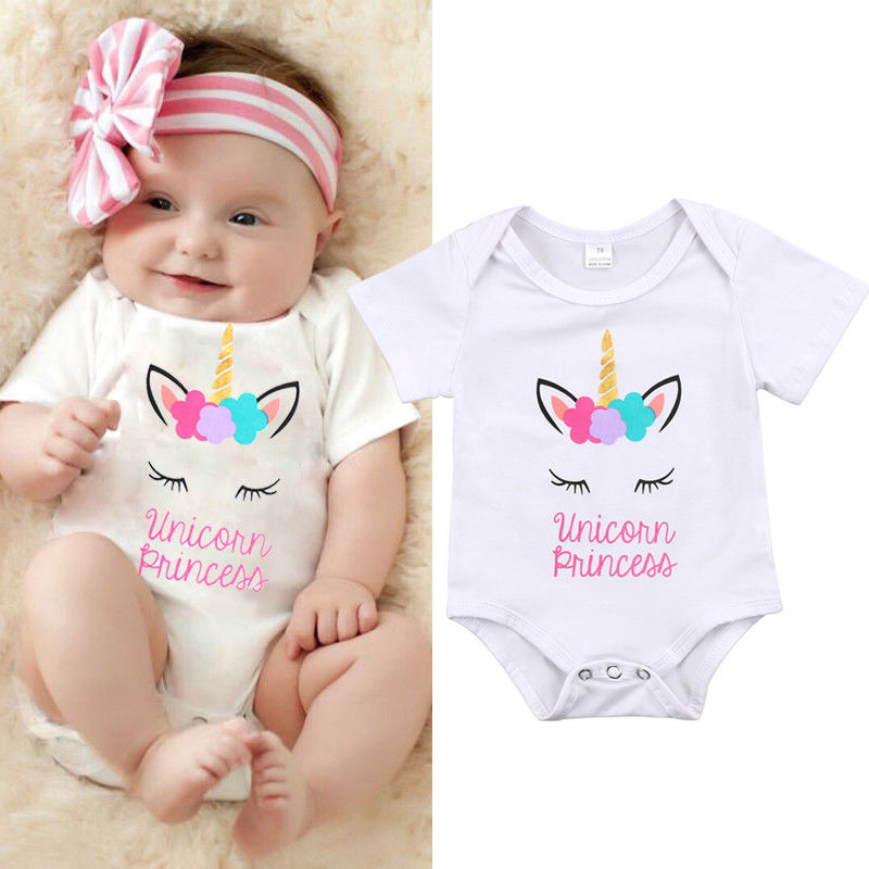 Pudcoco Girl Jumpsuits 3M-18M Unicorn Baby Girl Infant Toddler Newborn   Romper   Clothes Outfits 0-18M