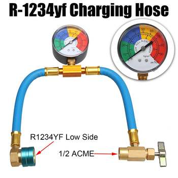 AC R-1234yf Charging Hose with Manifold Gauge Couplers Kit for Car Air-conditioning AC Refrigerant Pressure Charging Hose