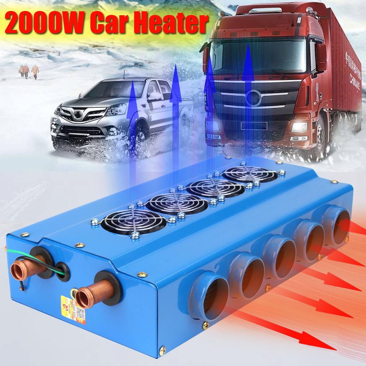 DC 12 V voiture chauffage voiture électronique chauffage 2000 W 16 racine gras Tube de cuivre 10 grand trou de vent électrique voiture chauffages
