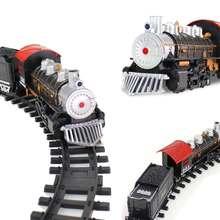 Train Toy Electric Classical Steam Train Series With Light Simulation Sound Effects Rail Car DIY Stitching Educational Toys Set
