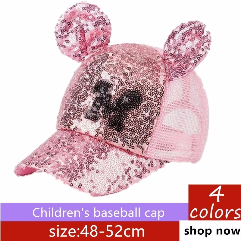kids Sequins Ear Hats Kids Snapback   Baseball     Cap   With Ears Funny Hats Spring Summer Hip Hop Boy Hats   Caps