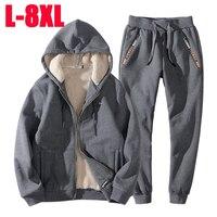 L 8XL трикотажные костюмы для мужчин и женщин, зимние, спортивные костюмы с плюшевой подкладкой утепленные спортивные костюмы мужской PU искус