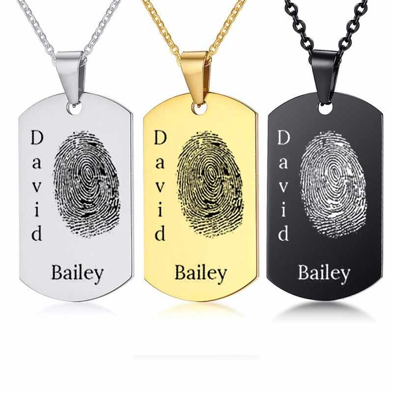 Custom Footprint Dogtag Pendant Stainless Steel Men Necklace In Silver Black Gold Personalized Name Photo Family Holiday Gifts