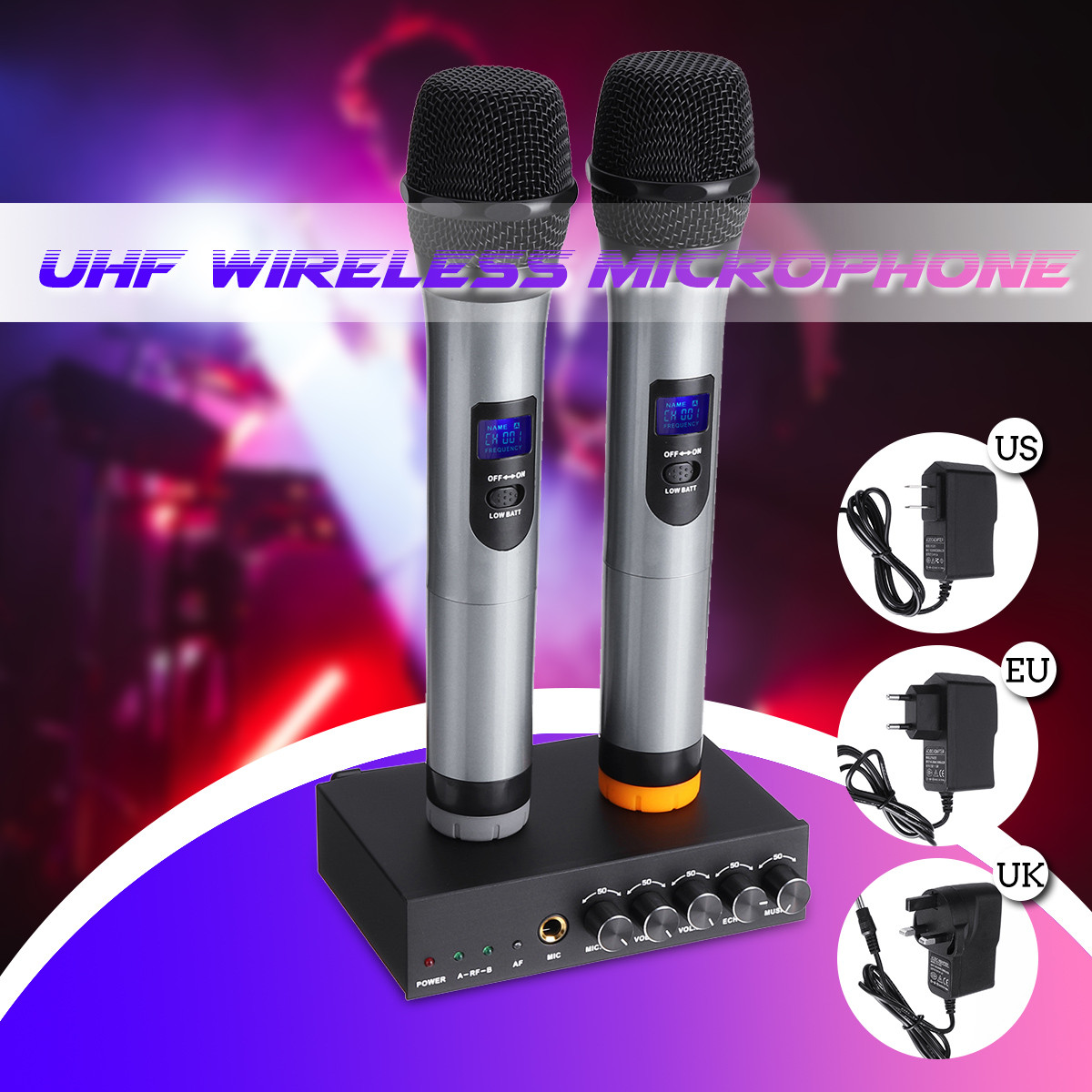 UHF Handheld Karaoke Microphone Wireless Professional System 2 Channel Frequency Adjustable  Wireless Microphone SystemUHF Handheld Karaoke Microphone Wireless Professional System 2 Channel Frequency Adjustable  Wireless Microphone System