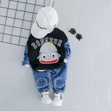 цена на 2019 Spring Autumn Baby Girls Boys Clothing Sets Cartoon T-Shirt Jeans 2 Pcs/Sets Children Kids Costume Infant Clothes Suits