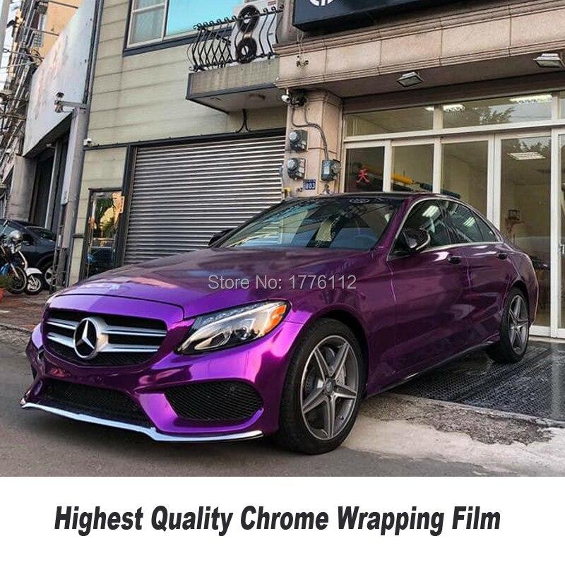 Chrome Violet miroir Vinyle Film De Voiture Body Wrap Pourpre miroir wraps Avec Drain D'air Technologie pour la Bulle Libre 5ft X 65ft/Rouleau