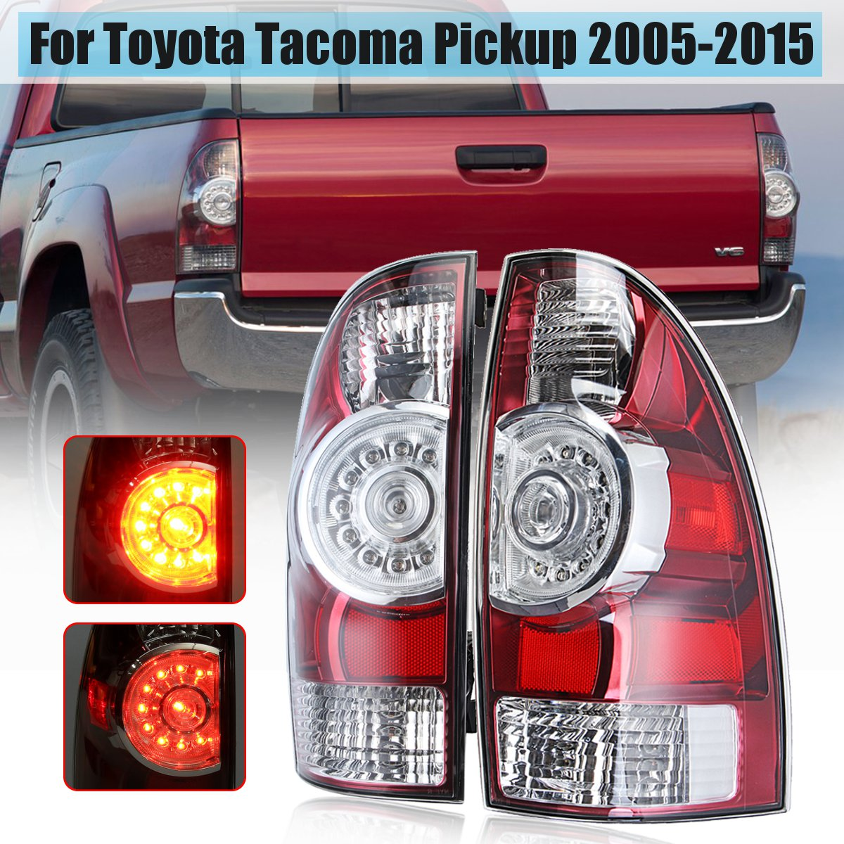 For Toyota Tacoma Pickup 2005-2015 Left/Right Tail Light Lamp With Wire Harness LED Rear Tail Light Brake Lamp