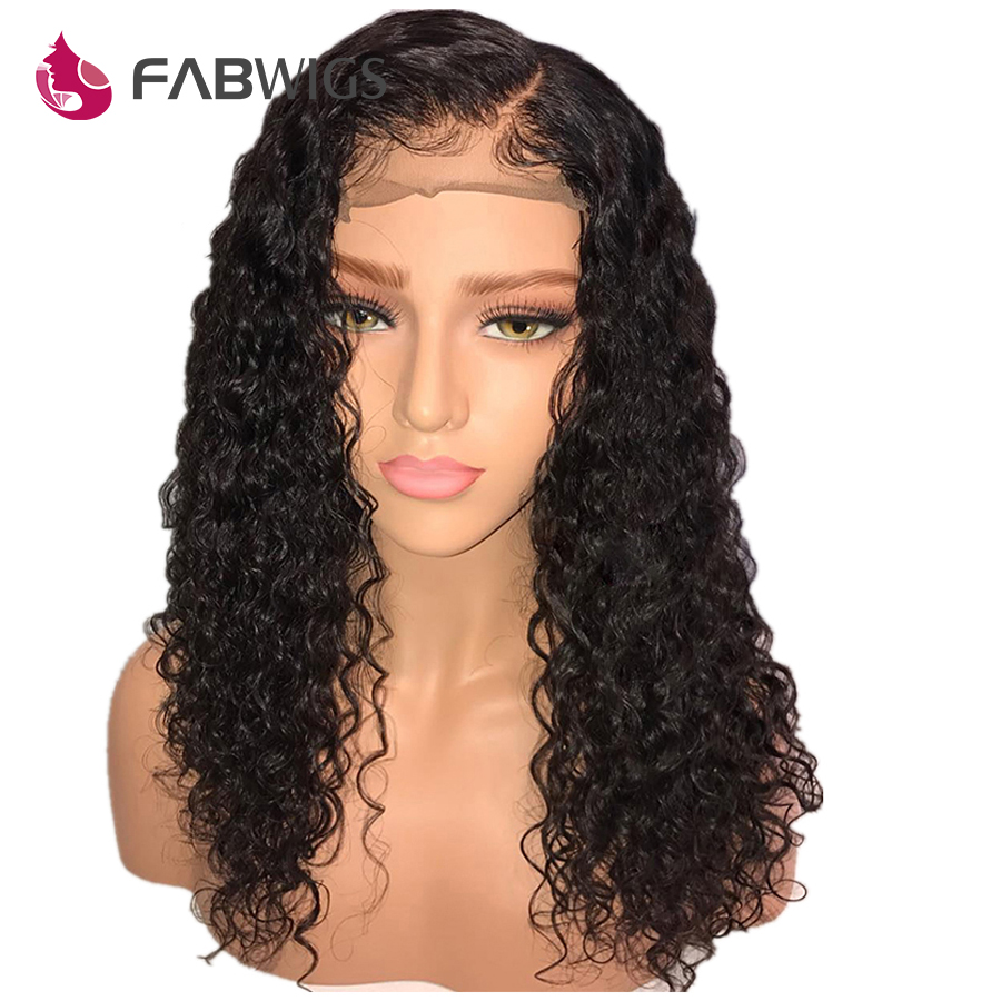 Fabwigs Full Lace Wig Brazilian Curly Full Lace Human Hair Wigs with Baby Hair Remy Pre
