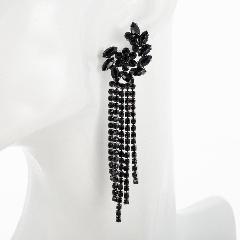 Женские длинные висячие серьги E604, черные серьги-кисточки с кристаллами в виде цветов, вечерние ювелирные изделия, E604