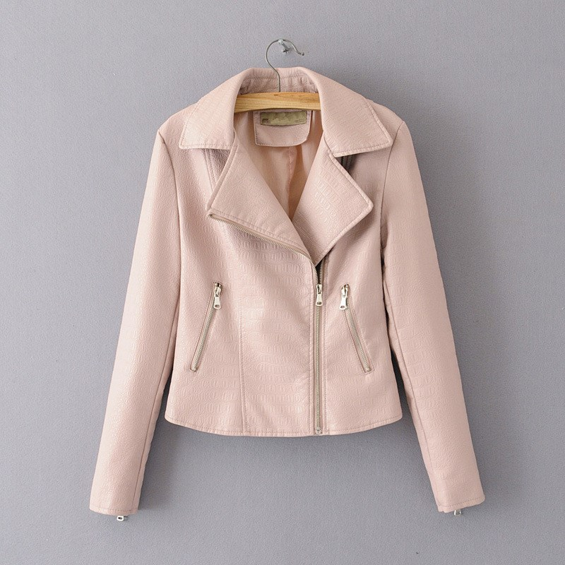 Women 2019 New Lapel Printing PU   Leather   Coat Fashion Long Sleeve Zipper Casual Short Coat Solid   Leather   Outerwear